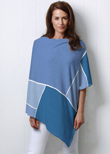 Blocks Blue (5169) ~ Slub Poncho