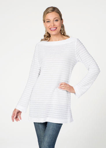 Natural White (5555) ~ Banded Boatneck Tunic