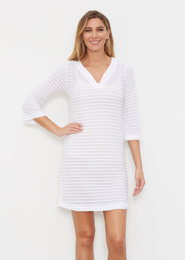Natural White (5555) ~ Banded 3/4 Sleeve Cover-up Dress