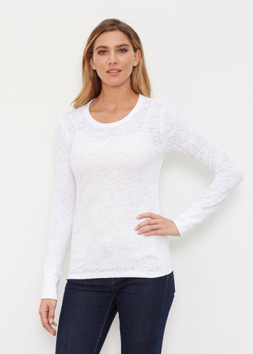 Natural White (5555) ~ Thermal Long Sleeve Crew Shirt