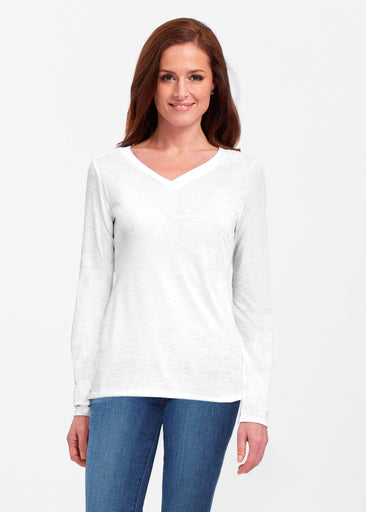 Natural White (5555) ~ Classic V-neck Long Sleeve Top