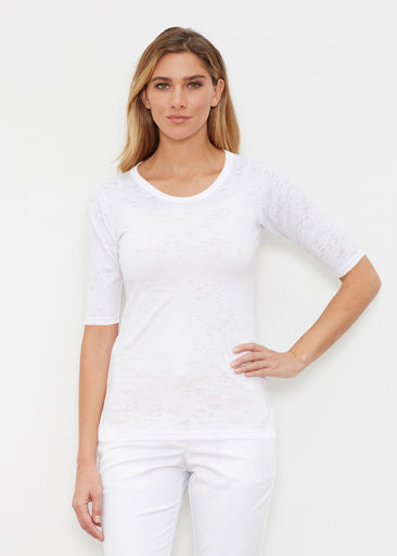 Natural White (5555) ~ Signature Elbow Sleeve Crew Shirt