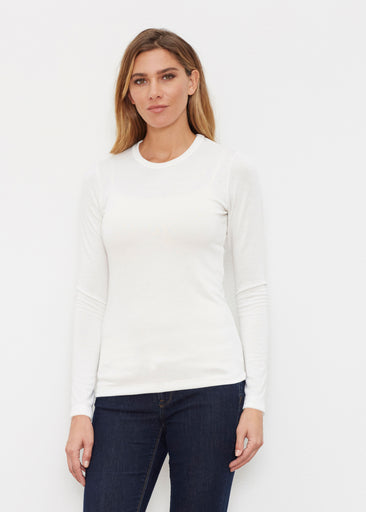 Natural White (5555) ~ Butterknit Long Sleeve Crew Top