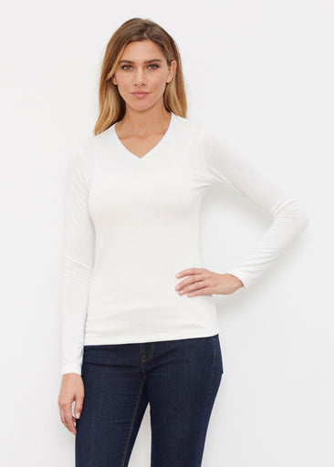 Natural White (5555) ~ Butterknit Long Sleeve V-Neck Top