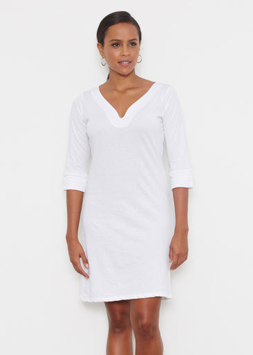 Natural White (5555) ~ Classic 3/4 Sleeve Sweet Heart V-Neck Dress