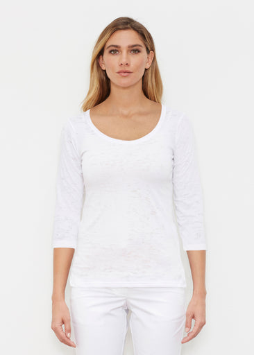 Natural White (5555) ~ Signature 3/4 Sleeve Scoop Shirt