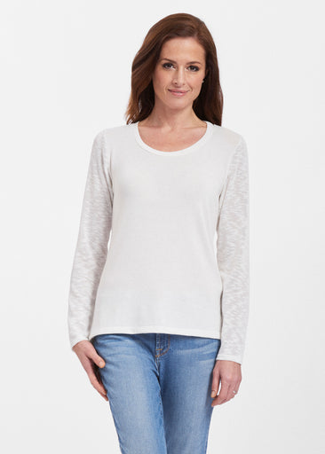 Natural White (5555) ~ Texture Mix Long Sleeve