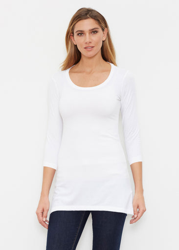 6ba38290a46 Natural White (5555) ~ Buttersoft 3/4 Sleeve Tunic