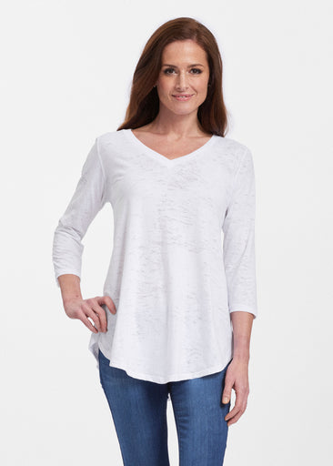 Natural White (5555) ~ V-neck Flowy Tunic