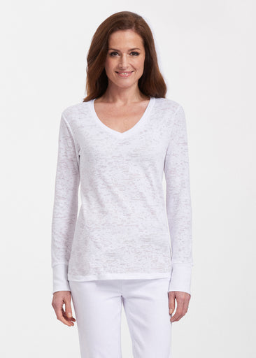 Natural White (5555) ~ Thermal Long Sleeve V-Neck Shirt