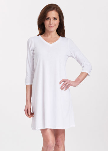 Natural White (5555) ~ Classic V-neck Swing Dress