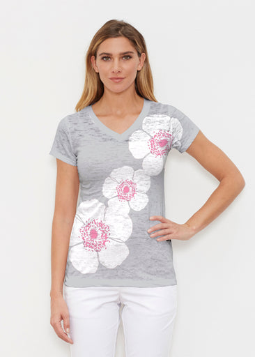 Poppy Grey (7016) ~ Signature Cap Sleeve V-Neck Shirt