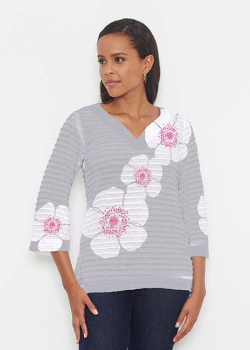 Poppy Grey (7016) ~ Banded 3/4 Bell-Sleeve V-Neck Tunic