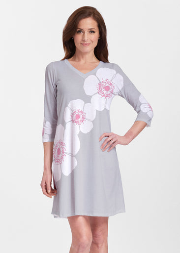 Poppy Grey (7016) ~ Classic V-neck Swing Dress