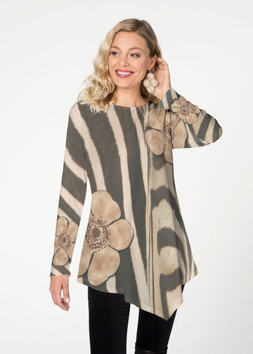 Poppy Zebra (7022) ~ Asymmetrical French Terry Tunic