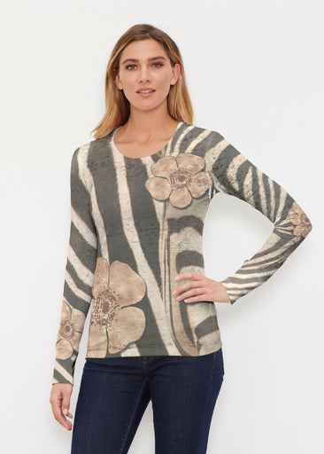Poppy Zebra (7022) ~ Thermal Long Sleeve Crew Shirt