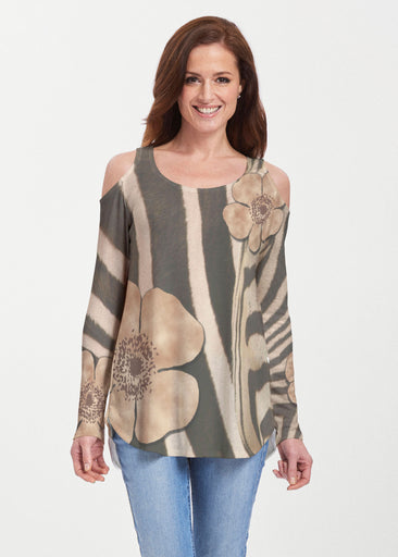 Poppy Zebra (7022) ~ Butterknit Cold Shoulder Tunic
