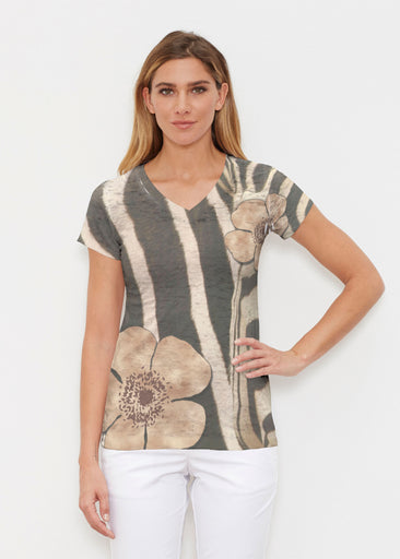 Poppy Zebra (7022) ~ Signature Cap Sleeve V-Neck Shirt
