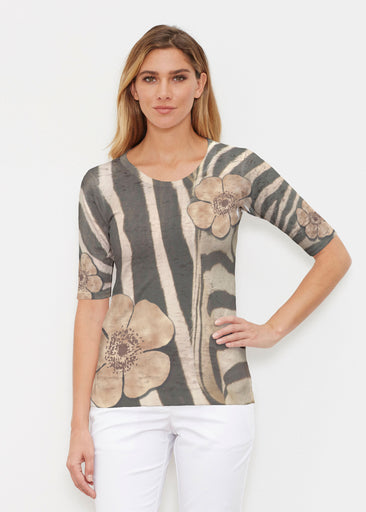 Poppy Zebra (7022) ~ Signature Elbow Sleeve Crew Shirt