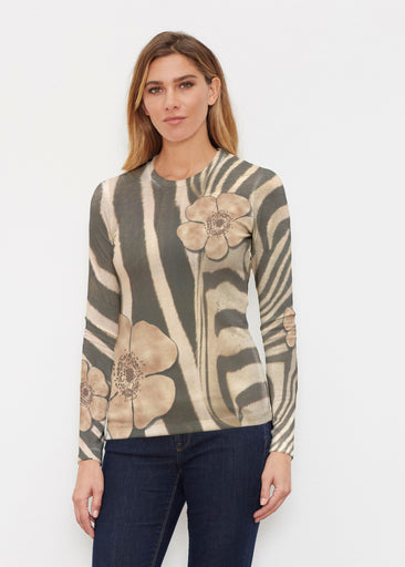 Poppy Zebra (7022) ~ Butterknit Long Sleeve Crew Top