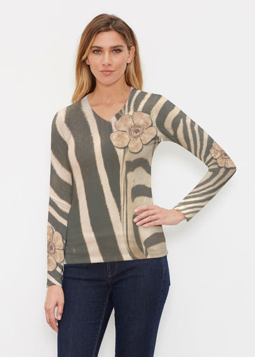 Poppy Zebra (7022) ~ Butterknit Long Sleeve V-Neck Top