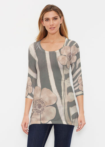 Poppy Zebra (7022) ~ Buttersoft 3/4 Sleeve Tunic