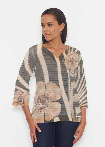 Poppy Zebra (7022) ~ Banded 3/4 Bell-Sleeve V-Neck Tunic