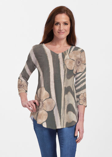 Poppy Zebra (7022) ~ Signature V-neck Flowy Tunic
