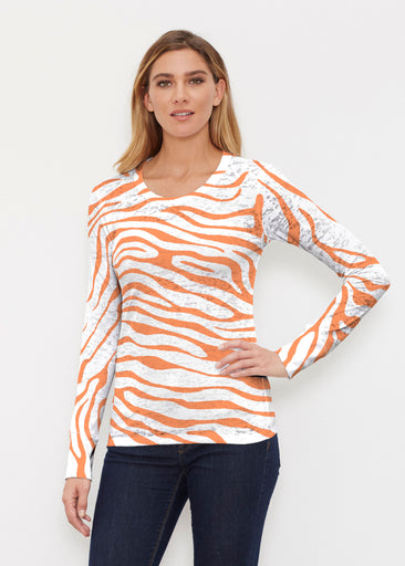 Zebra Orange (7042) ~ Thermal Long Sleeve Crew Shirt