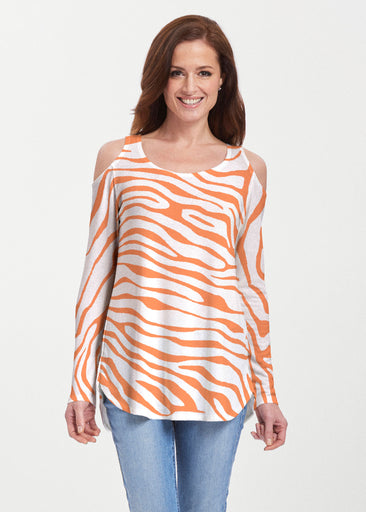 Zebra Orange (7042) ~ Butterknit Cold Shoulder Tunic