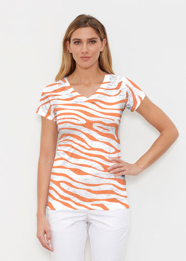 Zebra Orange (7042) ~ Signature Cap Sleeve V-Neck Shirt