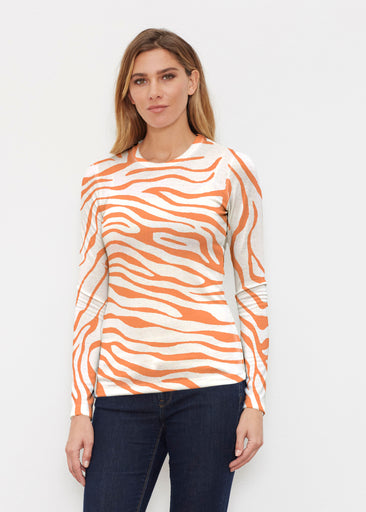 Zebra Orange (7042) ~ Butterknit Long Sleeve Crew Top