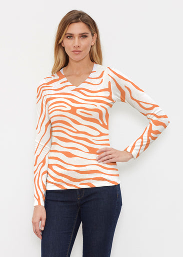 Zebra Orange (7042) ~ Butterknit Long Sleeve V-Neck Top