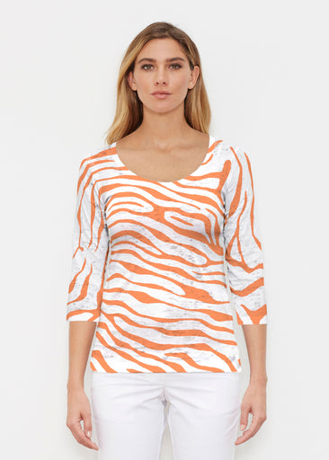 Zebra Orange (7042) ~ Signature 3/4 Sleeve Scoop Shirt