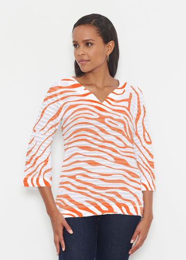 Zebra Orange (7042) ~ Banded 3/4 Bell-Sleeve V-Neck Tunic