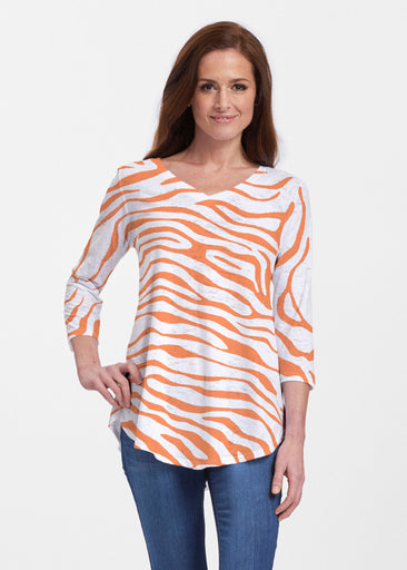 Zebra Orange (7042) ~ Signature V-neck Flowy Tunic