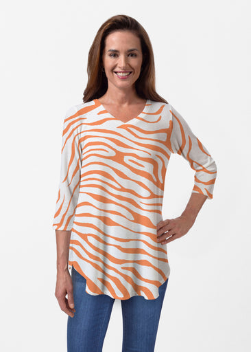 Zebra Orange (7042) ~ Butterknit V-neck Flowy Tunic