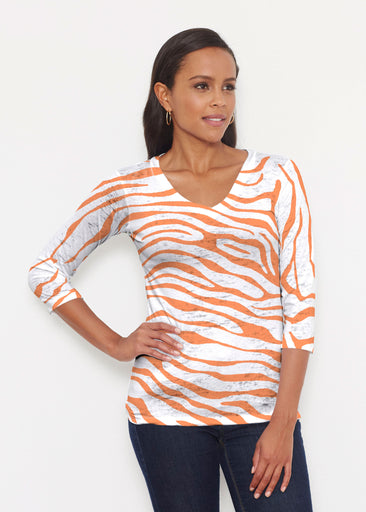 Zebra Orange (7042) ~ Signature 3/4 V-Neck Shirt