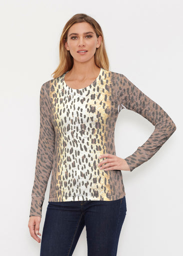 Leopard Brown (7049) ~ Thermal Long Sleeve Crew Shirt
