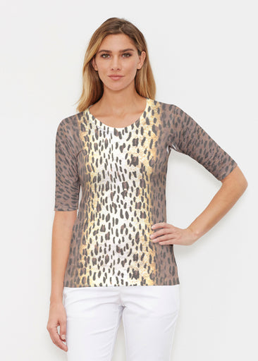 Leopard Brown (7049) ~ Signature Elbow Sleeve Crew Shirt