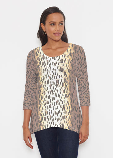 Leopard Brown (7049) ~ Katherine Hi-Lo Thermal Tunic