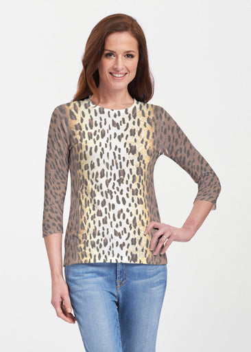 Leopard Brown (7049) ~ Premium 3/4 Sleeve Crew