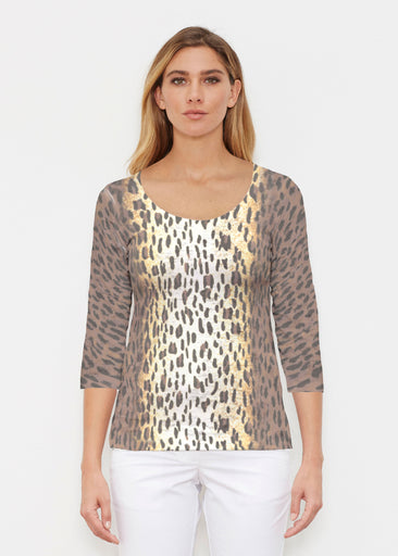 Leopard Brown (7049) ~ Signature 3/4 Sleeve Scoop Shirt