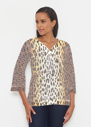 Leopard Brown (7049) ~ Banded 3/4 Bell-Sleeve V-Neck Tunic