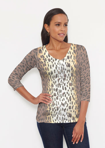 Leopard Brown (7049) ~ Signature 3/4 V-Neck Shirt