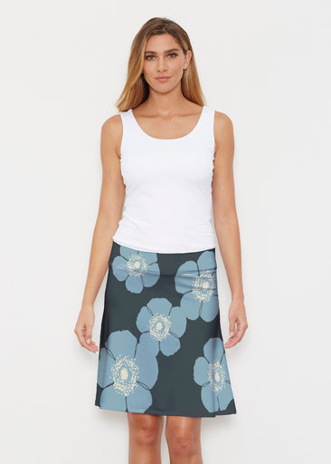 Poppy SteelBlue-Grey (7066) ~ Silky Brenda Skirt 21 inch