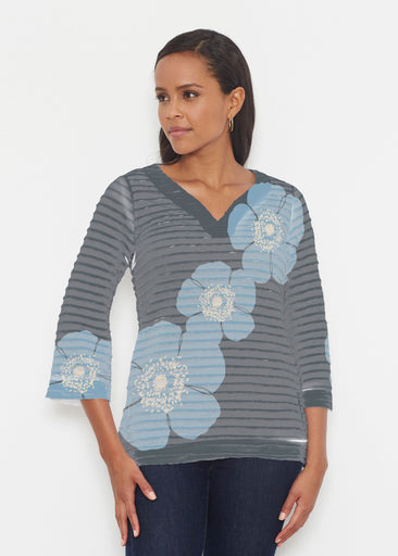 Poppy SteelBlue-Grey (7066) ~ Banded 3/4 Bell-Sleeve V-Neck Tunic