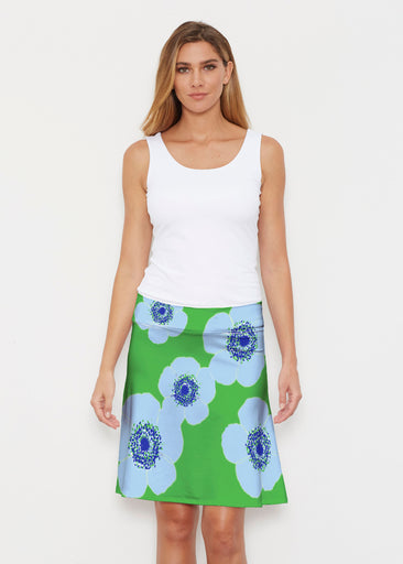 Poppy Blue-Lime Stripe (7095) ~ Silky Brenda Skirt 21 inch