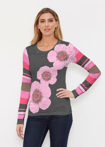 Poppy Black Stripes (7100) ~ Thermal Long Sleeve Crew Shirt