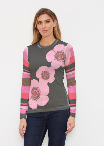 Poppy Black Stripes (7100) ~ Butterknit Long Sleeve Crew Top